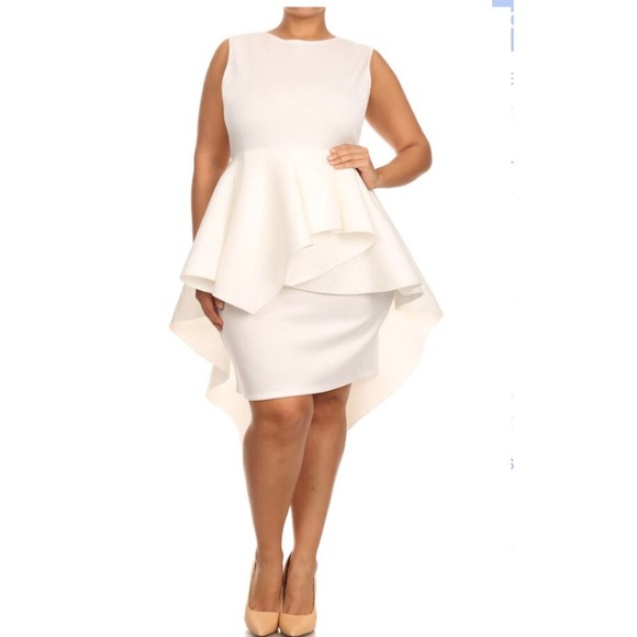Plus size ruffle peplum dress off white